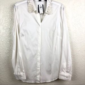 Ann Taylor Tops - Ann Taylor White Button Up Blouse Pearl Collar 12
